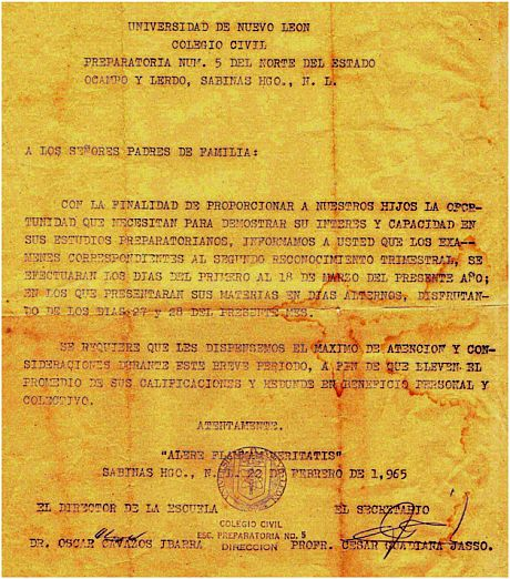 Carta del Director de la Preparatoria No. 5